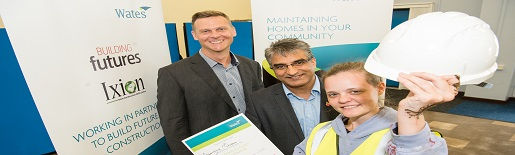 L-R Matt Vale Construction Manager Wates, Councillor Khurshid Ahmed, Cabinet Member for Planning and Economic Development and Georgina Queen, Building Futures candidate from Brierley Hill.jpg (1)